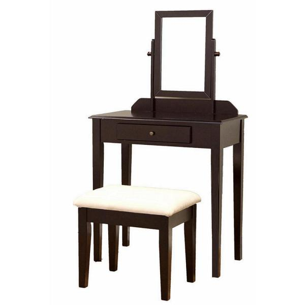 Homecraft Furniture Alligood 3-Piece Mahogany Vanity Set with Mirror and Stool
