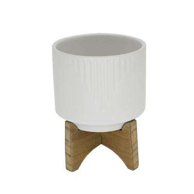 4.25 in. Matte White Cascade Ceramic on Wood Stand Mid-Century Planter