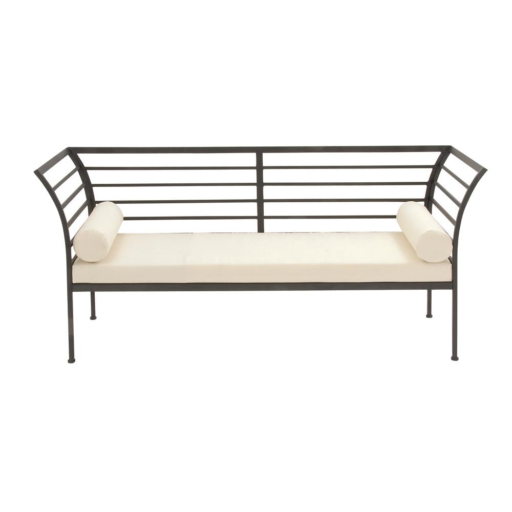 Contemporary Black and White Iron Bench with Cushion