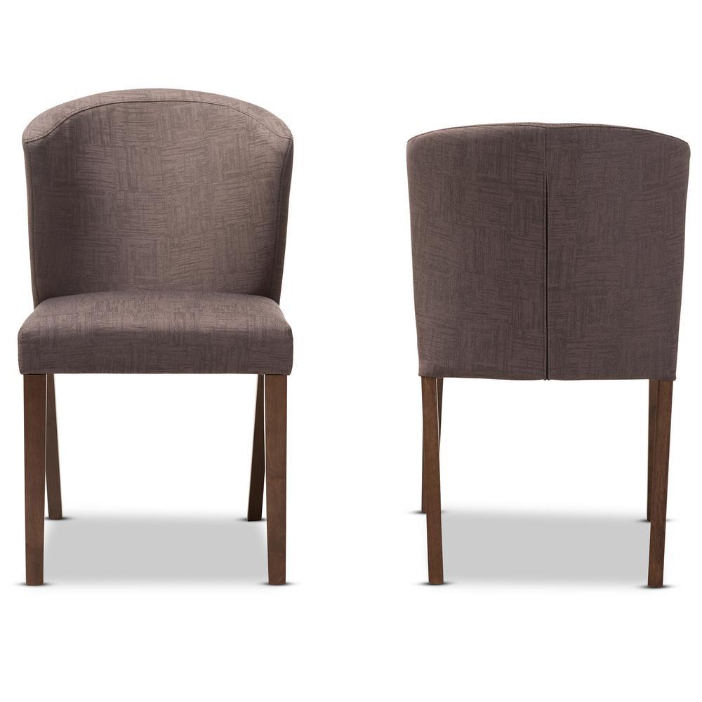 Cassie Light Brown/Walnut Brown Fabric Dining Chair (Set of 2)