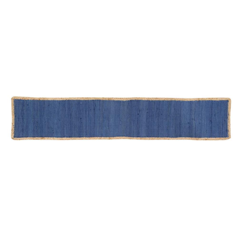 Element Border Tufted Blue Cotton Table Runner