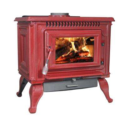 2,000 Sq. Ft. EPA Certified Red Enameled Porcelain Cast Iron Wood stove with Blower