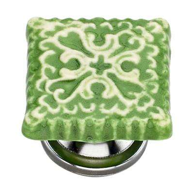 Intricate 1.57 in. Lime Tile Cabinet Knob