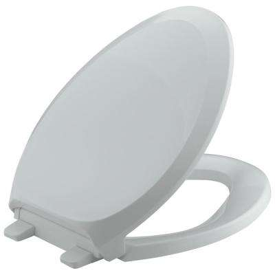 French Curve Quiet-Close Elongated Closed Front Toilet Seat with Grip-tight Bumpers in Ice Grey