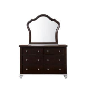 Alli 6-Drawer Dresser with Mirror in Walnut