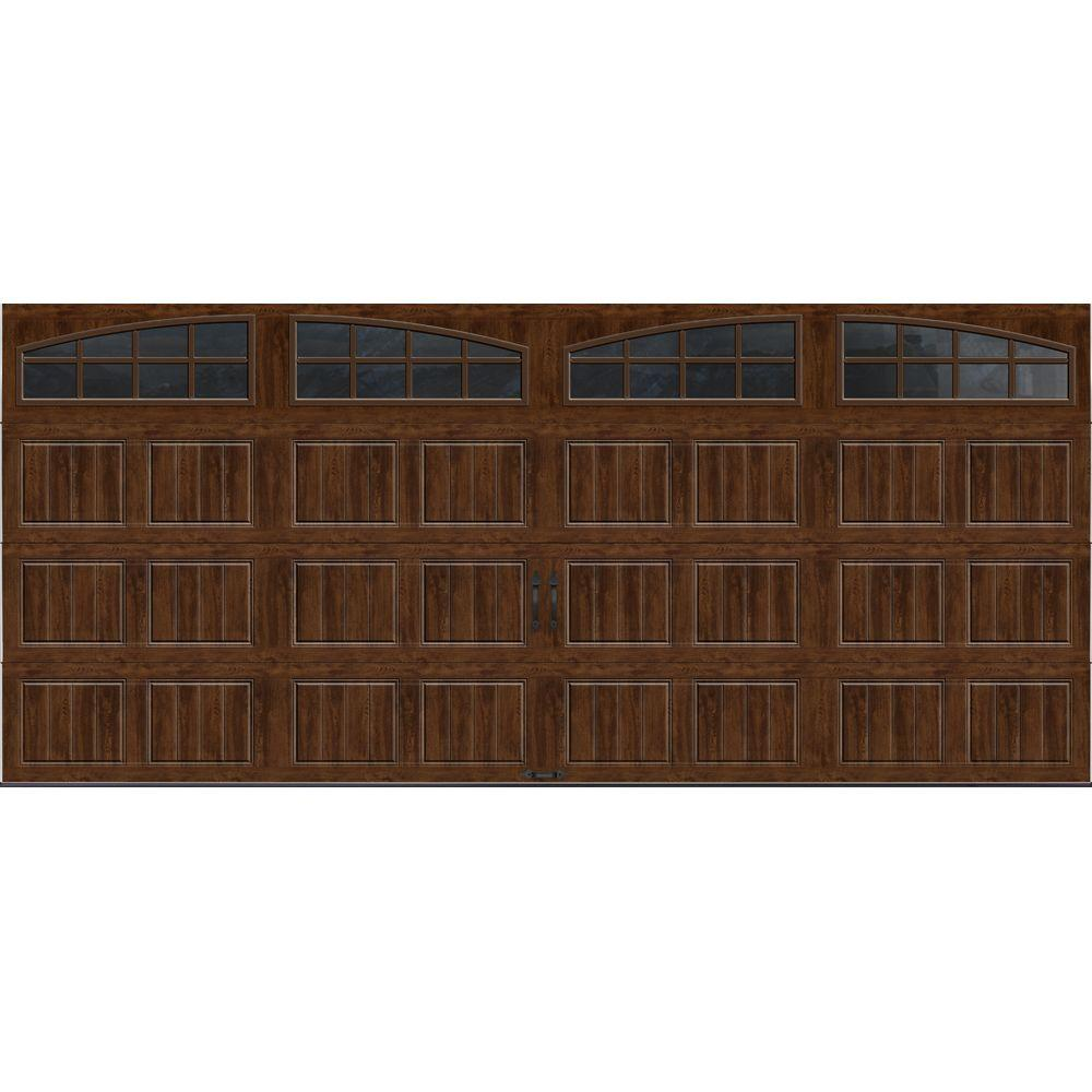 Clopay Gallery Collection 16 ft. x 7 ft. 18.4 R-Value Intellicore Insulated Ultra-Grain Walnut Garage Door with Arch Window