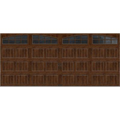Gallery Collection 16 ft. x 7 ft. 18.4 R-Value Intellicore Insulated Ultra-Grain Walnut Garage Door with Arch Window