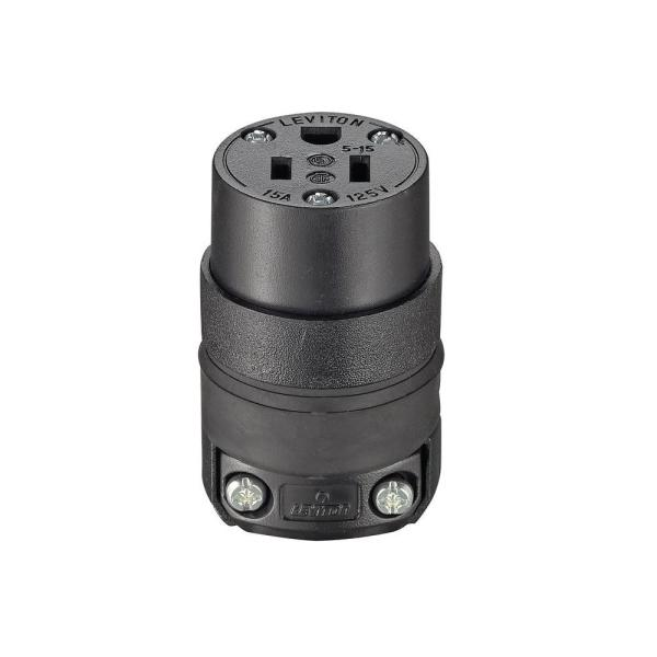 15 Amp 2-Pole Straight Blade Grounding Connector, Black