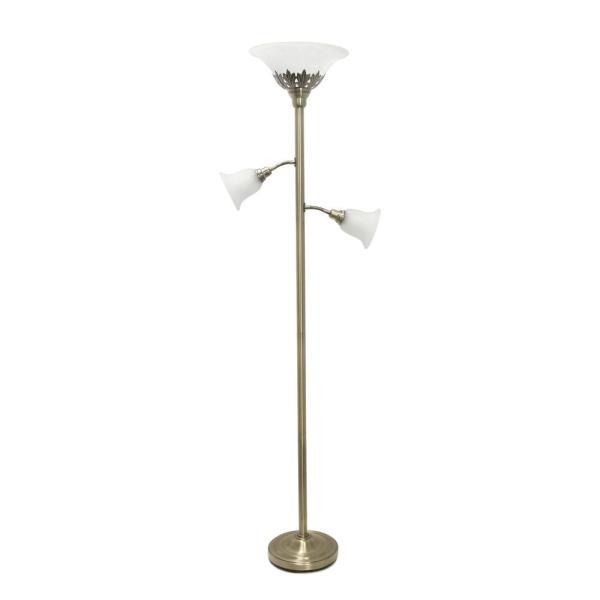 71 in. 3-Light Antique Brass Floor Lamp with Scalloped Glass Shades