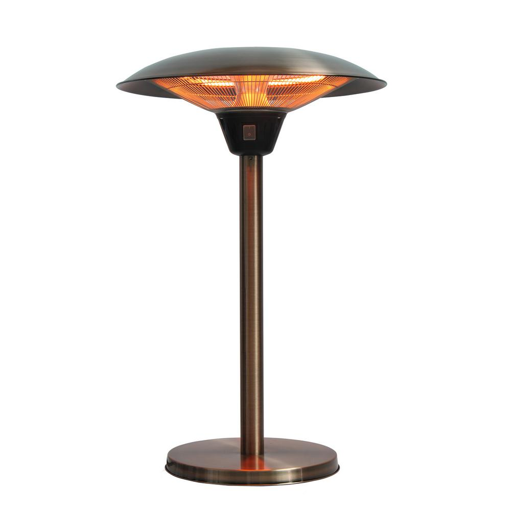 Fire Sense Cimarron 1 500 Watt Brushed Copper Colored Table Top Halogen Patio Heater
