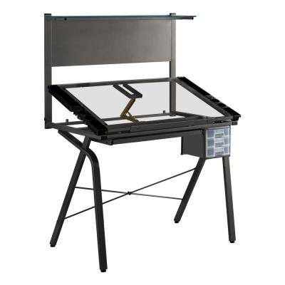 Grey Metal Adjustable Drafting Table With Tempered Glass