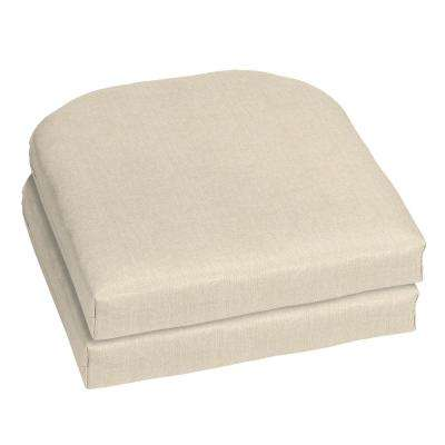 Sunbrella Canvas Flax Contoured Outdoor Seat Cushion (2-Pack)