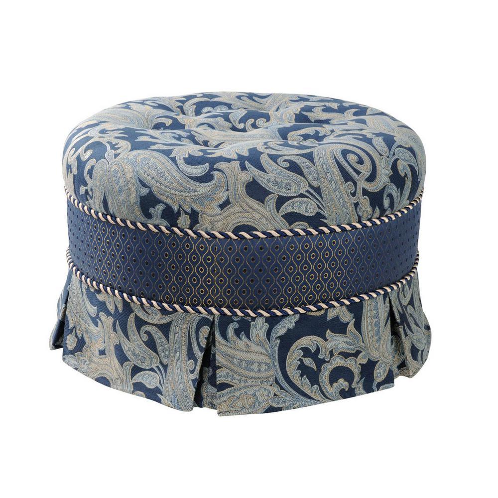 Hallie Dusty Blue Ottoman