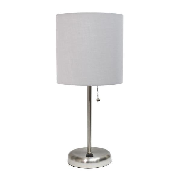 19.5 in. Grey Stick Lamp with USB Charging Port and Fabric Shade