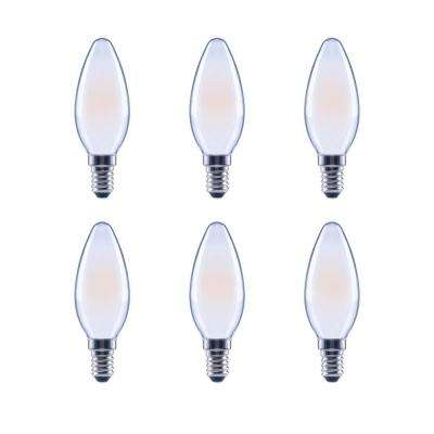 40-Watt Equivalent B11 Dimmable Frosted Glass Filament Vintage LED Light Bulb in Cool White (6-Pack)