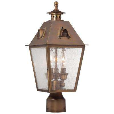 Edenshire 3-Light English Brass Outdoor Post Mount