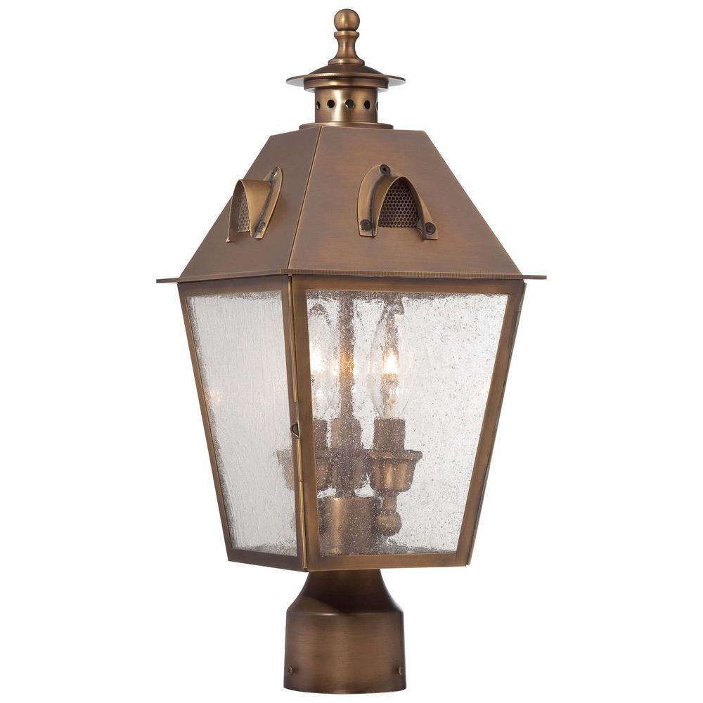 Edenshire 3-Light English Brass Outdoor Post Mount