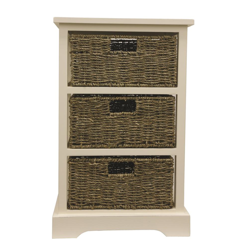 3-Basket White Storage End Table
