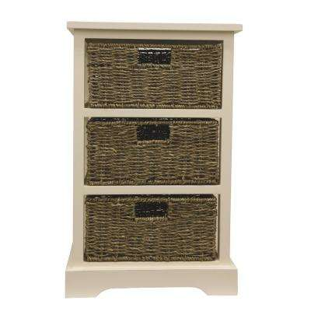 3-Basket White Storage End Table