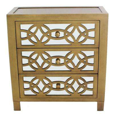 Glam Slam 3-Drawer Gold Cabinet