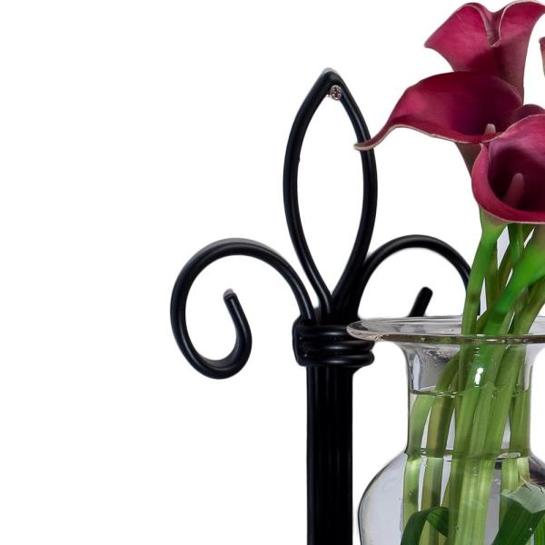 Danya B 15 In Glass Wall Mount Decorative Decorative Amphora Vase On Metal Fleour Des Lis Sconce In Clear Glass A043 C The Home Depot