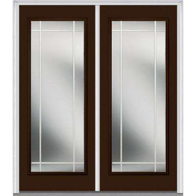 60 in. x 80 in. Prairie Internal Muntins Right-Hand Full Lite Classic Painted Steel Prehung Front Door