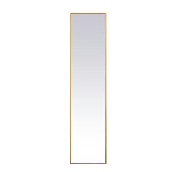 Large Rectangle Brass Modern Mirror (60 in. H x 14 in. W)