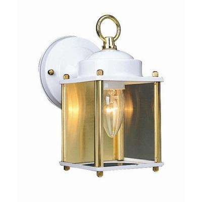 Coach White & Polished Brass Outdoor Wall-Mount Downlight