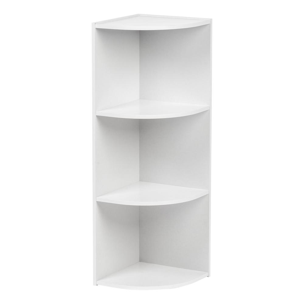 White Faux Wood 3 Shelf Corner Bookcase