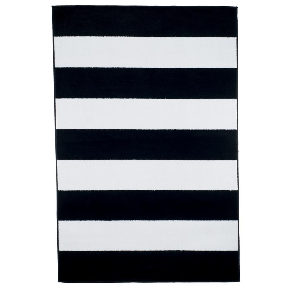 5 ft. x 7 ft. Breton Stripe Area Rug in Black and White