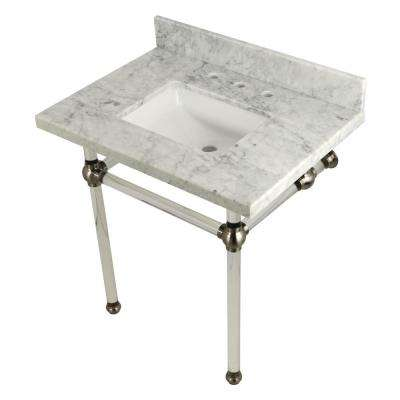 Square-Sink Washstand 30 in. Console Table in Carrara Marble with Acrylic Legs in Satin Nickel