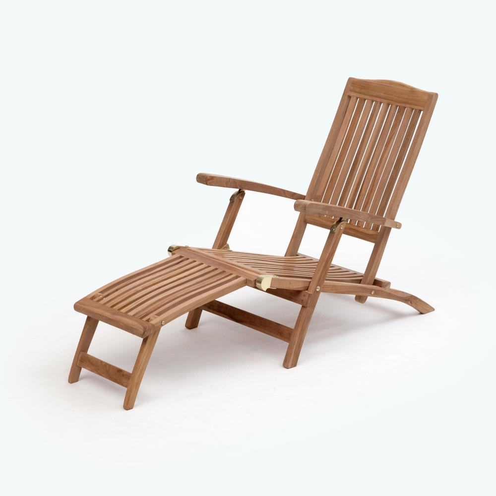 Transcontinential Group Bali Brown Folding Teak Outdoor Lounge Chair