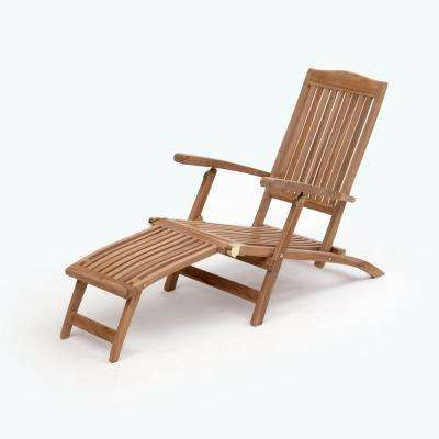 Bali Brown Folding Teak Outdoor Lounge Chair 1