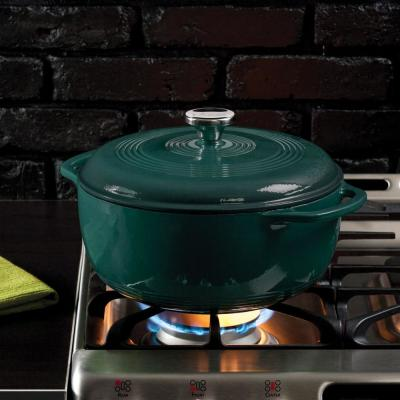 6 Qt. Round Enamel Cast Iron Dutch Oven in Lagoon Blue