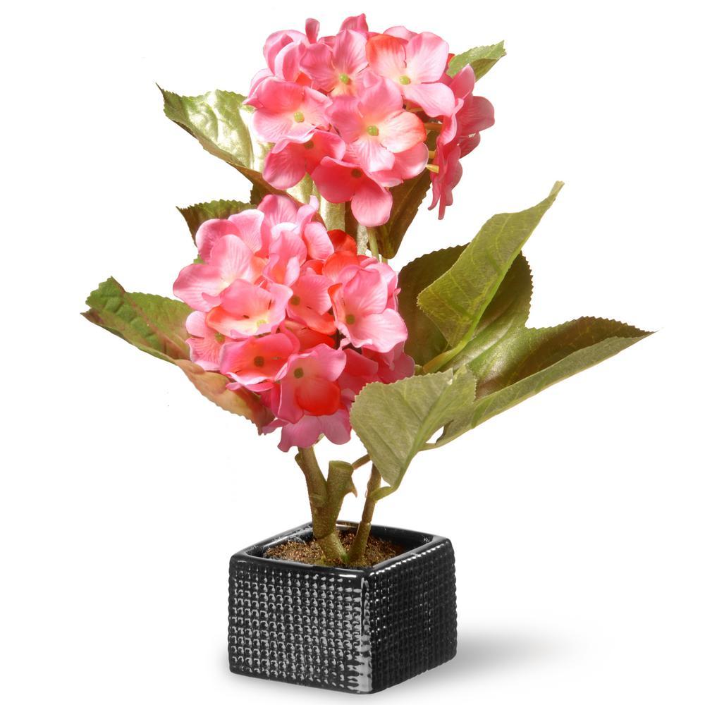 10 in. Pink Hydrangea Flower