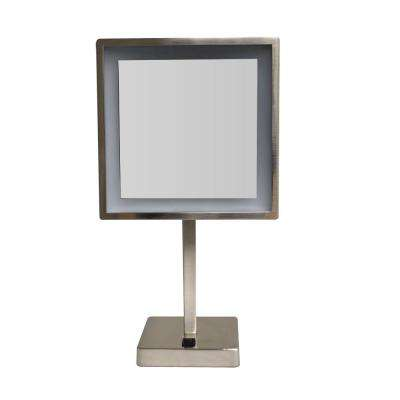 Square 8 in. x 14-3/4 in. Freestanding Framed Freestanding  LED  Mirror in Brushed Nickel with 5X Magnification