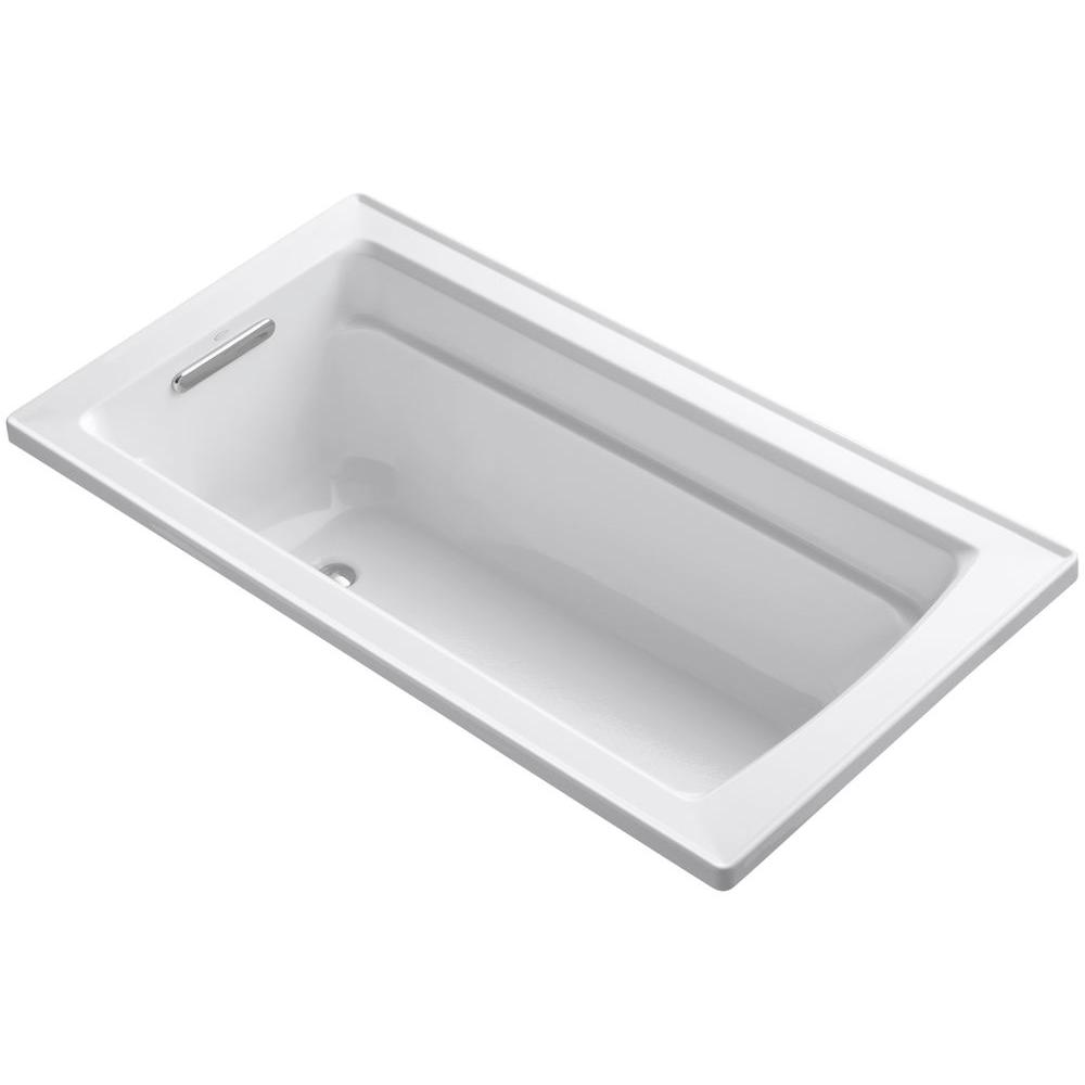 Kohler archer 5 ft reversible drain acrylic soaking tub for Acrylic soaker tub
