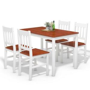 Costway 5-Piece White Dining Table Set 4 Chairs Solid Wood ...