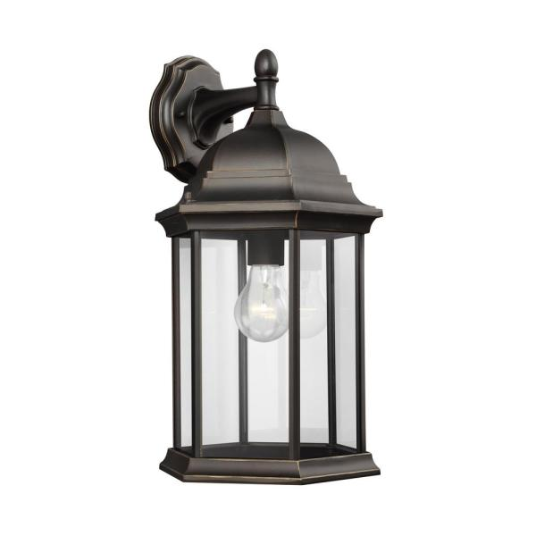 Sevier 1-Light Antique Bronze Outdoor 18.75 in. Wall Lantern Sconce
