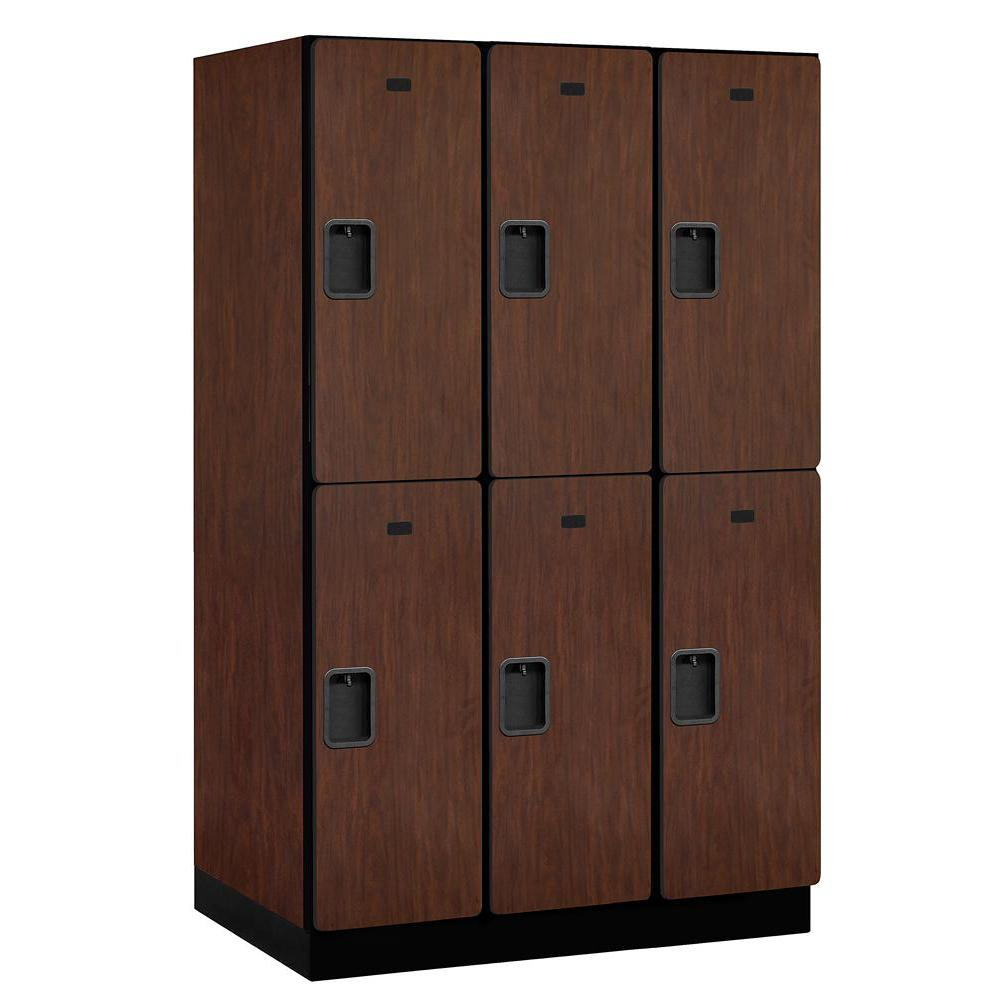 22000 Series Double-Tier 24 in. D 6-Compartments Extra Wide Designer Particle Board Locker in Mahogany