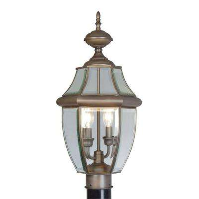2-Light Outdoor Bronze Post Head with Clear Beveled Glass