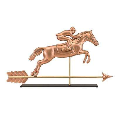 Horse and Rider Copper Table Top Sculpture - Equestrian Home Decor