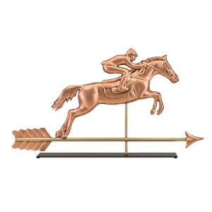 Good Directions Jumping Horse and Rider Pure Copper Weathervane Sculpture on Mantel Stand:... by Good Directions