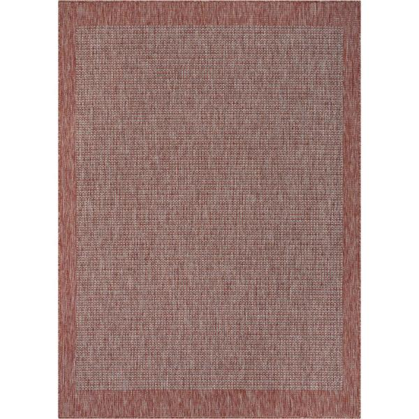 Medusa Odin Coral Solid and Striped Border Indoor/Outdoor 5 ft. 3 in. x 7 ft. 3 in. Area Rug