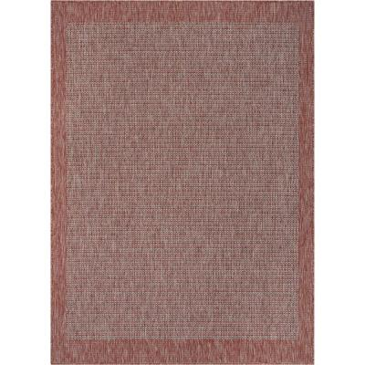 Medusa Odin Coral Solid and Striped Border Indoor/Outdoor 7 ft. 10 in. x 9 ft. 10 in. Area Rug