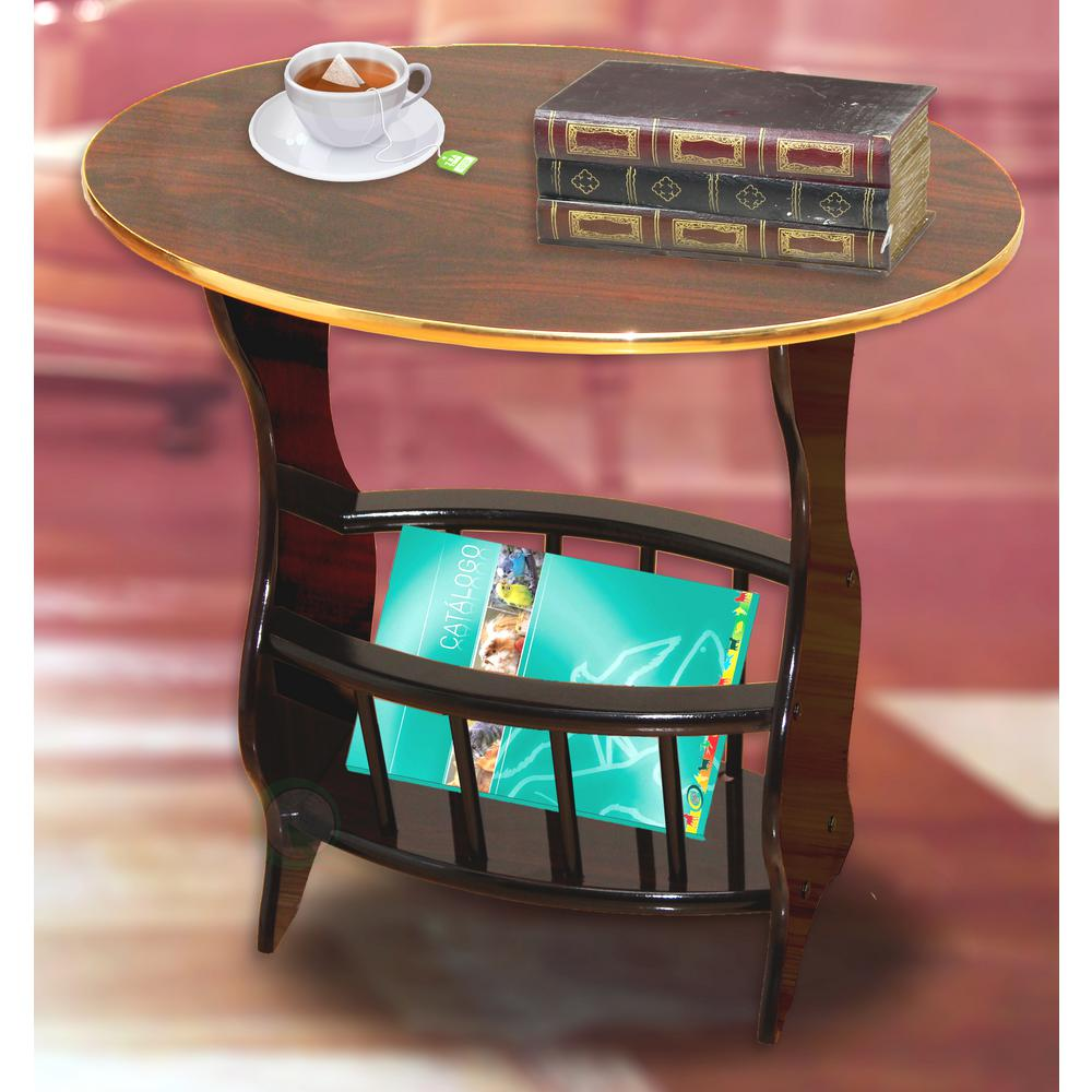 Uniquewise 24 In X 15 8 22 Oval Side Table With Freestanding Magazine Holder Espresso Brown Finish Qi003138b The Home Depot