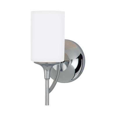 Stirling 1-Light Chrome Sconce with LED Bulbs