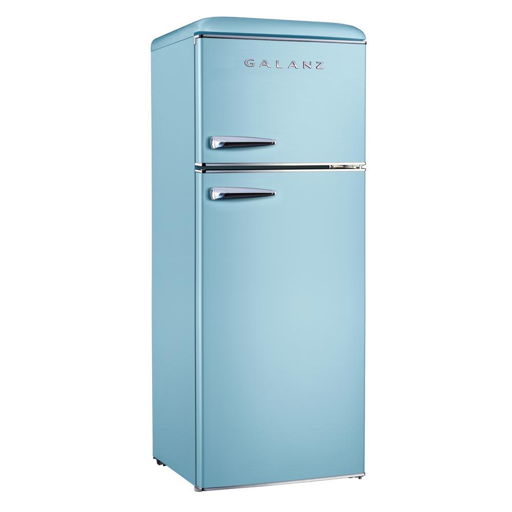 7.6 cu. ft. Retro Mini Fridge Dual Door with Freezer in Bebop Blue, ENERGY STAR