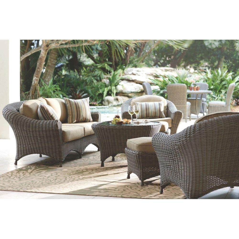 Martha Living Lake Adela Weathered Gray 6 Piece Patio Seating Set With Sand Cushions 0482100440 The Home Depot