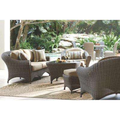 Bon Lake Adela Weathered Gray 6 Piece Patio Seating Set With Sand Cushions